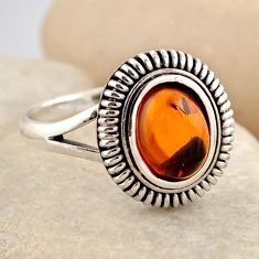 1.58cts natural orange baltic amber 925 silver solitaire ring size 8.5 r4099
