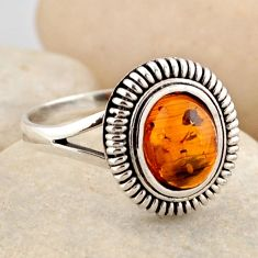 925 silver 1.46cts natural orange baltic amber solitaire ring size 8.5 r4100