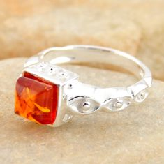 0.98cts natural orange baltic amber 925 silver solitaire ring size 5.5 r4102