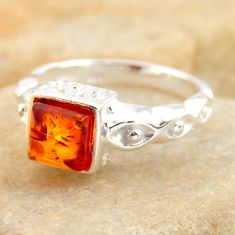 1.04cts natural orange baltic amber 925 silver solitaire ring size 5.5 r4103
