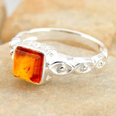 925 silver 1.04cts natural orange baltic amber solitaire ring size 7.5 r4104