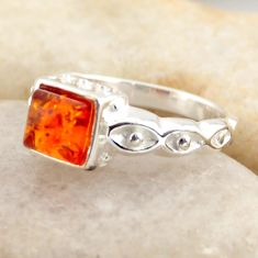 0.98cts natural orange baltic amber 925 silver solitaire ring size 6.5 r4106