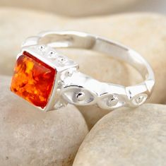925 silver 0.97cts natural orange baltic amber solitaire ring size 6.5 r4107