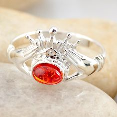 0.81cts natural orange baltic amber 925 silver solitaire ring size 8.5 r4110