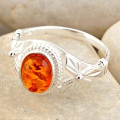1.96cts natural orange baltic amber 925 silver solitaire ring size 7.5 r4112