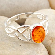 1.58cts natural orange baltic amber 925 silver solitaire ring size 8.5 r4115