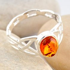 925 silver 1.73cts natural orange baltic amber solitaire ring size 7.5 r4119