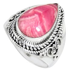 925 silver 8.07cts natural rhodochrosite inca rose solitaire ring size 9 r4124