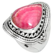 11.76cts natural rhodochrosite inca rose 925 silver solitaire ring size 8 r4129