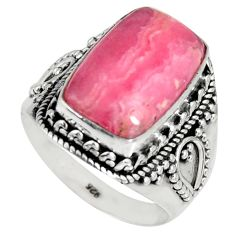 7.66cts natural rhodochrosite inca rose 925 silver solitaire ring size 8 r4135