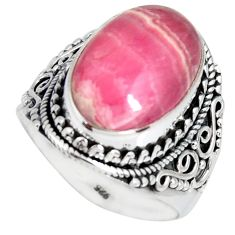 925 silver 10.22cts natural rhodochrosite inca rose solitaire ring size 8 r4138