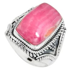 7.26cts natural rhodochrosite inca rose silver solitaire ring size 7.5 r4143