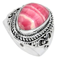 7.52cts natural pink rhodochrosite inca rose silver solitaire ring size 9 r4146