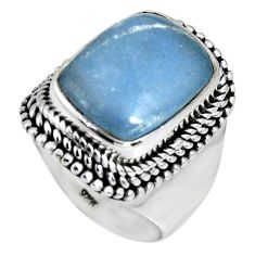 6.86cts natural blue angelite 925 silver solitaire ring jewelry size 7 r4161