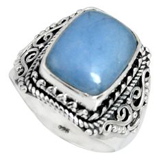7.13cts natural blue angelite 925 silver solitaire ring jewelry size 8 r4162