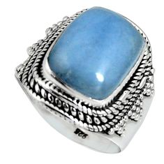 5.92cts natural blue angelite 925 silver solitaire ring jewelry size 7.5 r4163