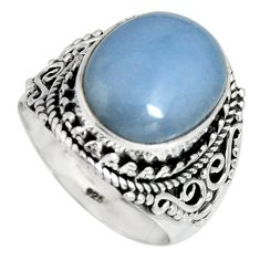 925 silver 7.41cts natural blue angelite solitaire ring jewelry size 7.5 r4164