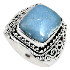 6.06cts natural blue angelite 925 silver solitaire ring jewelry size 7.5 r4165