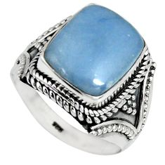 5.93cts natural blue angelite 925 silver solitaire ring jewelry size 9 r4166