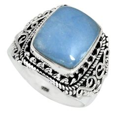 5.92cts natural blue angelite 925 silver solitaire ring jewelry size 8 r4167