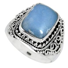 6.09cts natural blue angelite 925 silver solitaire ring jewelry size 9 r4168