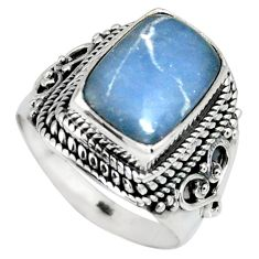 5.27cts natural blue angelite 925 silver solitaire ring jewelry size 8 r4169