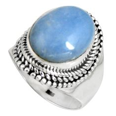 925 silver 6.91cts natural blue angelite solitaire ring jewelry size 8 r4170