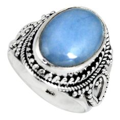 6.92cts natural blue angelite 925 silver solitaire ring jewelry size 7.5 r4171