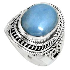 6.53cts natural blue angelite 925 silver solitaire ring jewelry size 7.5 r4172