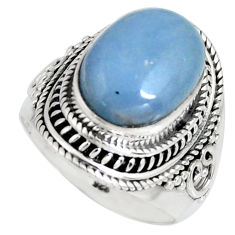 6.38cts natural blue angelite 925 silver solitaire ring jewelry size 7.5 r4173