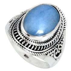 7.22cts natural blue angelite 925 silver solitaire ring jewelry size 9 r4174