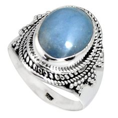 6.50cts natural blue angelite 925 silver solitaire ring jewelry size 9 r4175