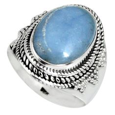 8.24cts natural blue angelite 925 silver solitaire ring jewelry size 8 r4176