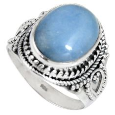 8.02cts natural blue angelite 925 silver solitaire ring jewelry size 8.5 r4177