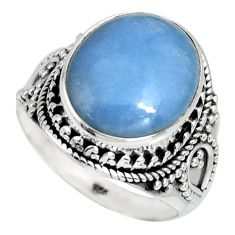 8.51cts natural blue angelite 925 silver solitaire ring jewelry size 9 r4179