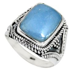 8.21cts natural blue angelite 925 silver solitaire ring jewelry size 8 r4180