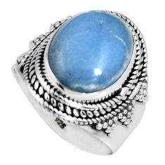 7.41cts natural blue angelite 925 sterling silver solitaire ring size 8.5 r4181