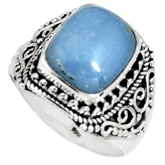 5.42cts natural blue angelite 925 sterling silver solitaire ring size 9 r4182