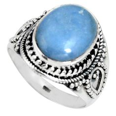 925 sterling silver 6.91cts natural blue angelite solitaire ring size 9 r4184
