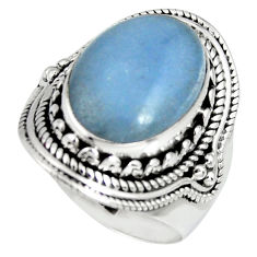 7.26cts natural blue angelite 925 sterling silver solitaire ring size 7.5 r4185