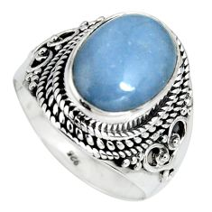 5.89cts natural blue angelite 925 sterling silver solitaire ring size 9 r4186