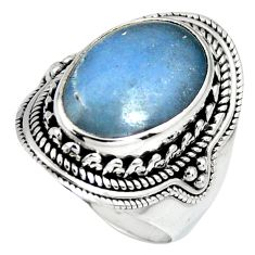 7.55cts natural blue angelite 925 silver solitaire ring jewelry size 7.5 r4201
