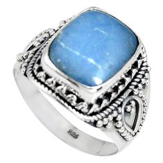 5.14cts natural blue angelite 925 silver solitaire ring jewelry size 9 r4202