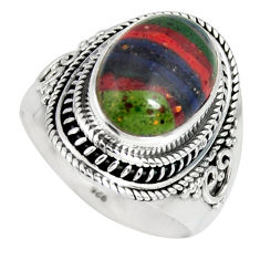 6.84cts natural rainbow calsilica 925 silver solitaire ring size 9 r4206