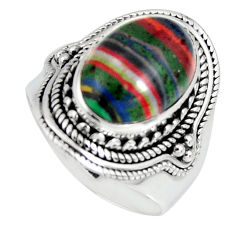 6.55cts natural multi color rainbow calsilica silver solitaire ring size 8 r4211