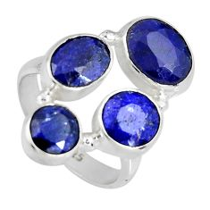 8.14cts natural blue sapphire 925 sterling silver ring jewelry size 6.5 r4445