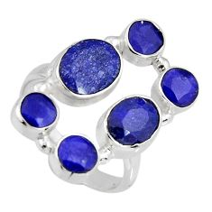 8.96cts natural blue sapphire 925 sterling silver ring jewelry size 8 r4446