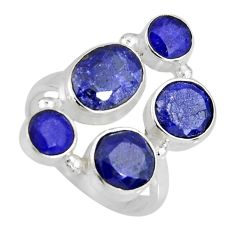 8.96cts natural blue sapphire 925 sterling silver ring jewelry size 8 r4449