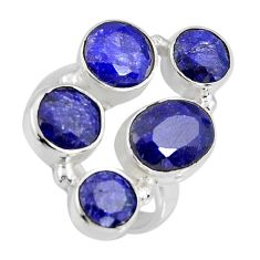 925 sterling silver 8.96cts natural blue sapphire ring jewelry size 6.5 r4450