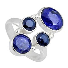 6.58cts natural blue sapphire 925 sterling silver ring jewelry size 6.5 r4456